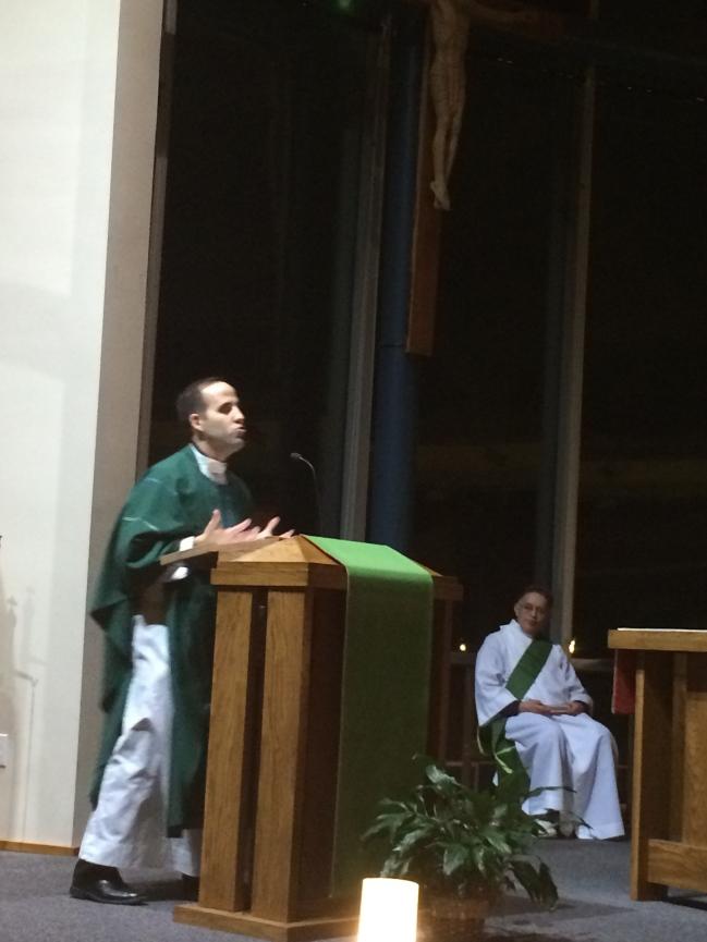 Fr. Marko Djokovic saying Mass at our Winter 2015 Retreat.